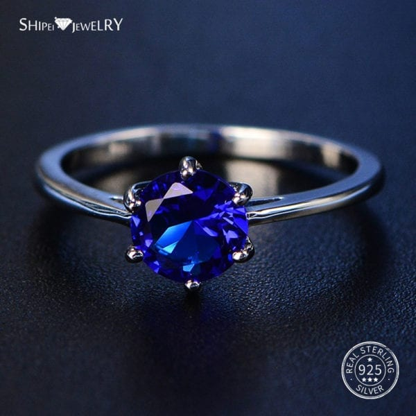 100% 925 Sterling Silver Round Sapphire Rings for Women