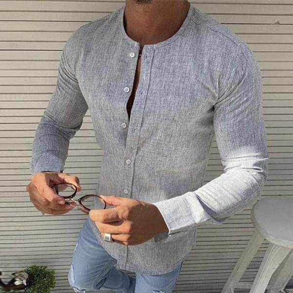 Light O-Neck Button-Down Shirt